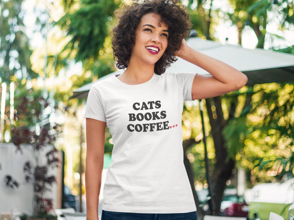 Cat T-Shirts For Women - Cats Books Coffee Tee