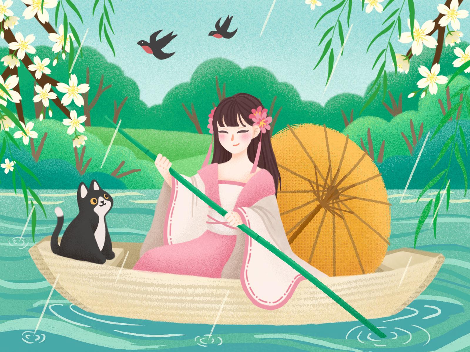 Cat Illustrations - Qingming Festival. Art by ZJR