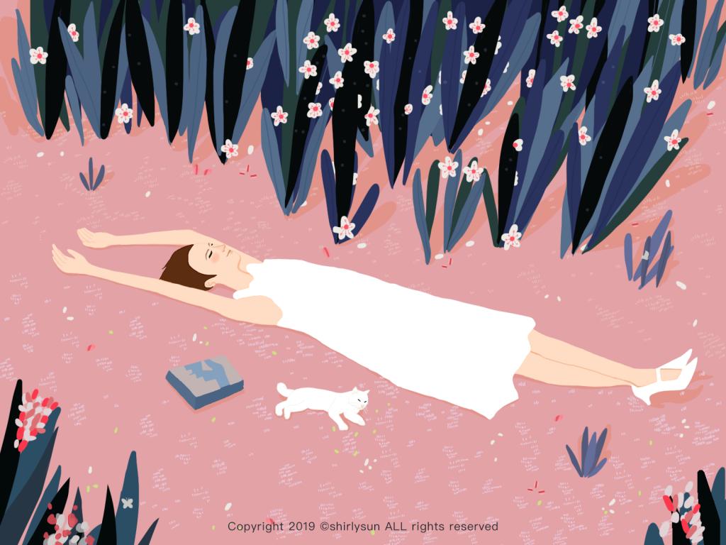 Cat Illustrations - Spring Equinox. Art by shirly sun