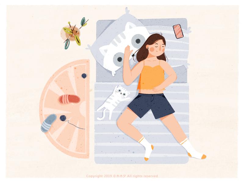 Cat Illustrations - 女孩-Girl (6). Art by 木木夕