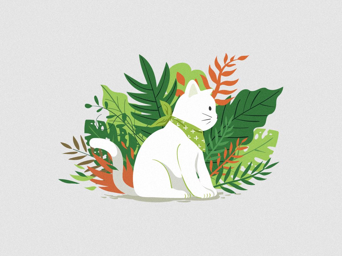 Cat Illustrations - Cat&Botany. Art by xiheshi