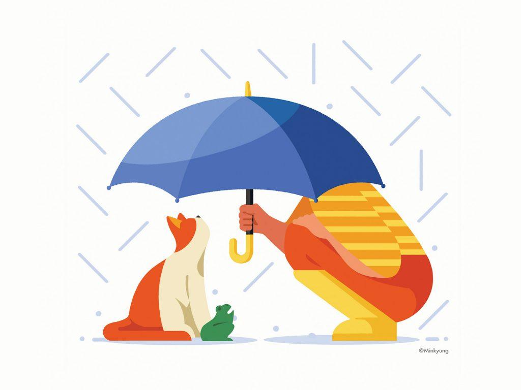 Cat Illustrations - Calendar illustration_April. Art by Minkyung