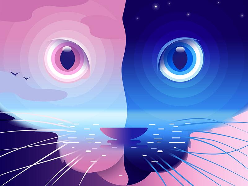 Cat Illustrations - Two faced cat. Art by Ksenia Shokorova