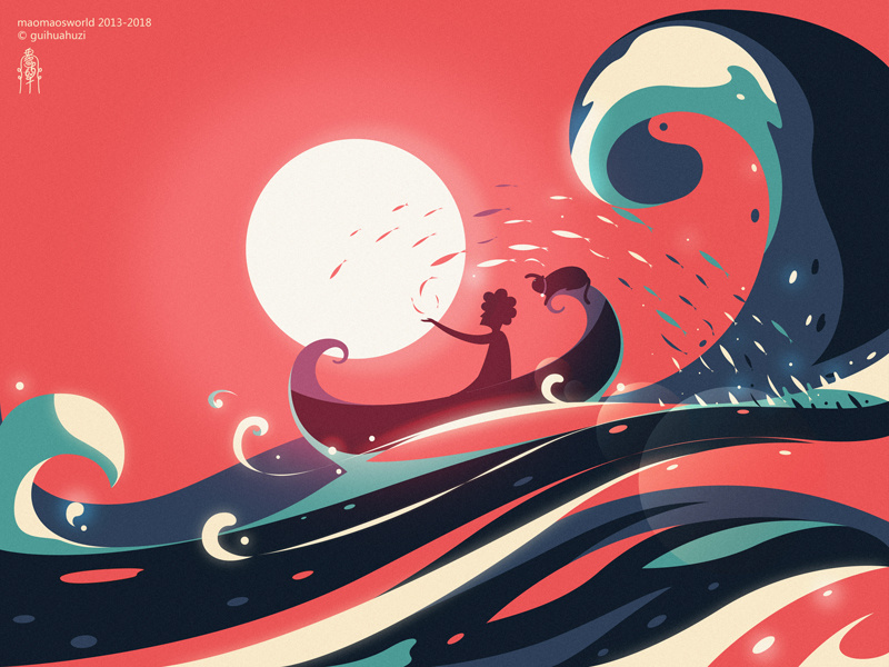 Cat Illustrations - Sea boat. Art by guihuahuzi
