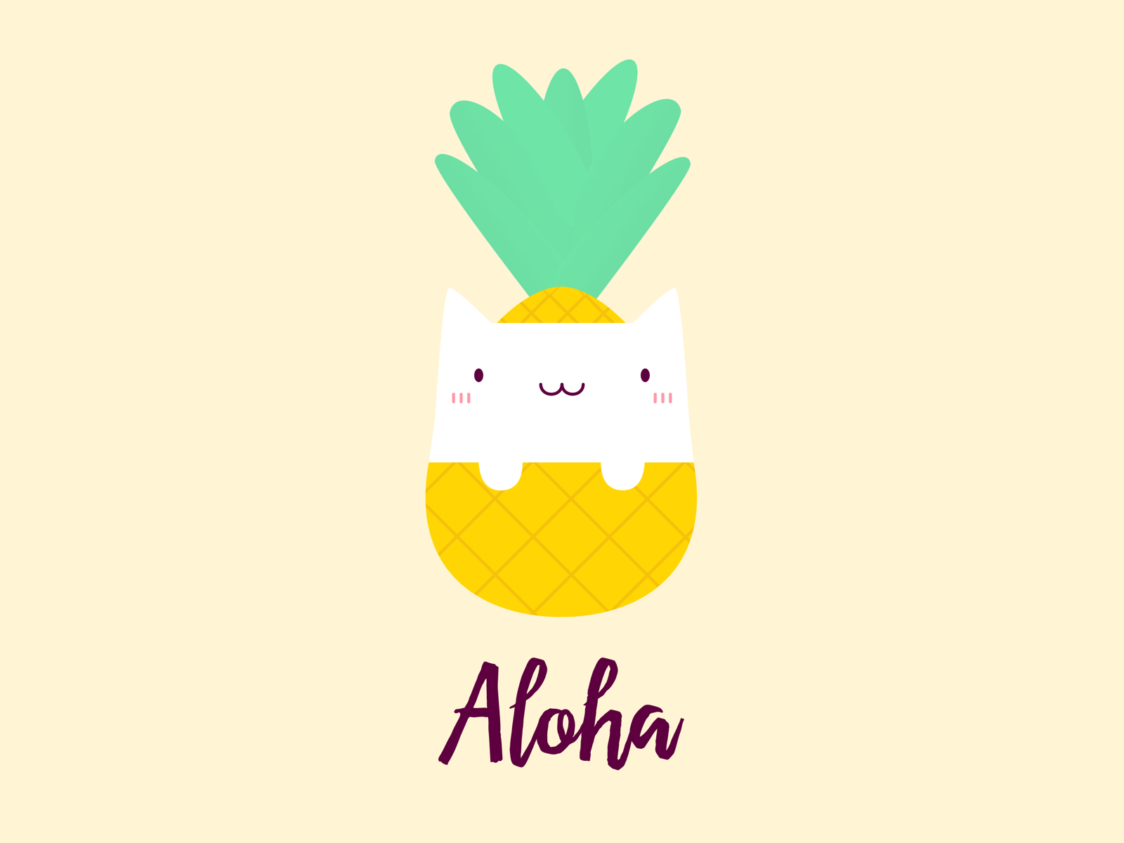 Cute Pineapple Cat T-Shirt