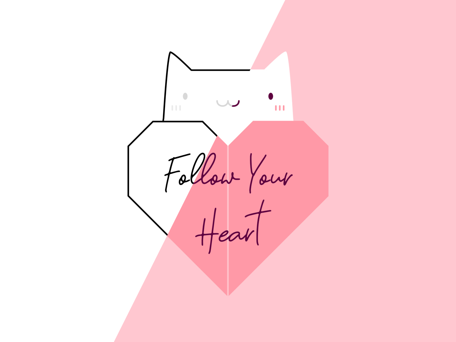 Cat with Origami Heart - Follow Your Heart