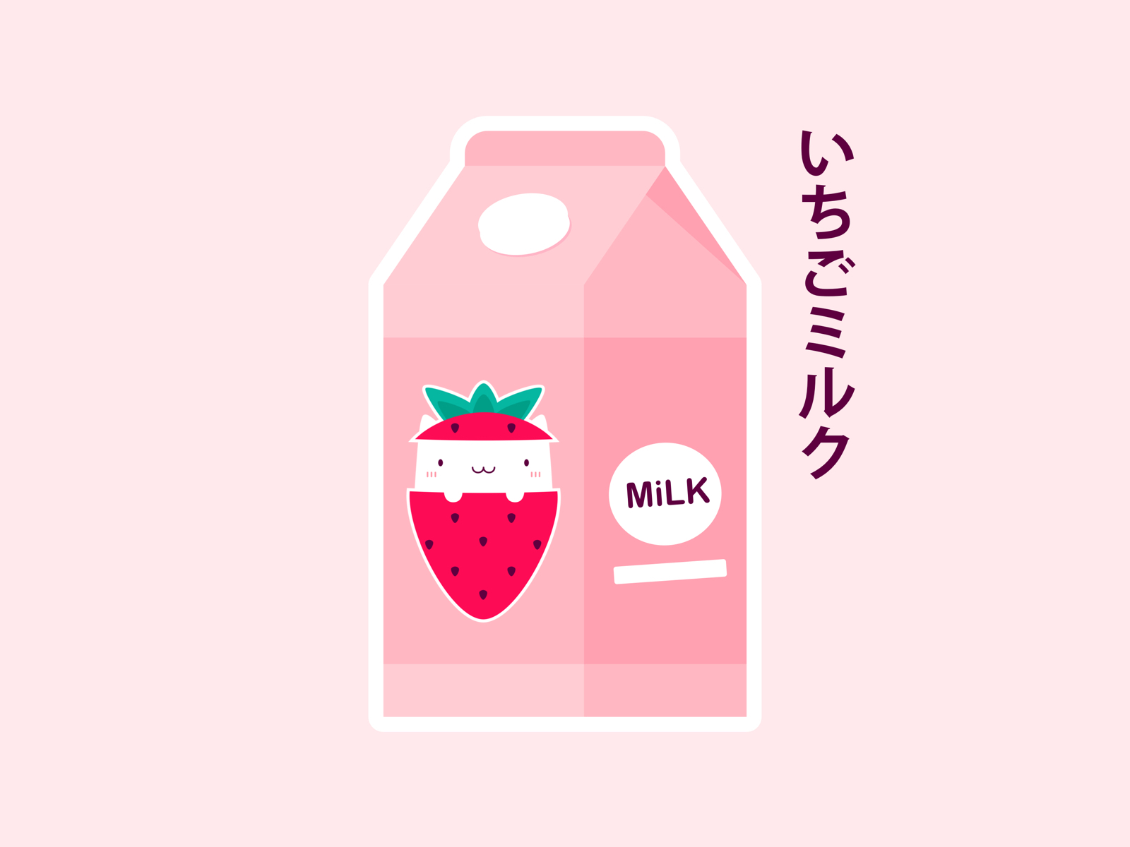 Japanese kawaii strawberry milk with a cute cat drinking flavored Japanese strawberry milk