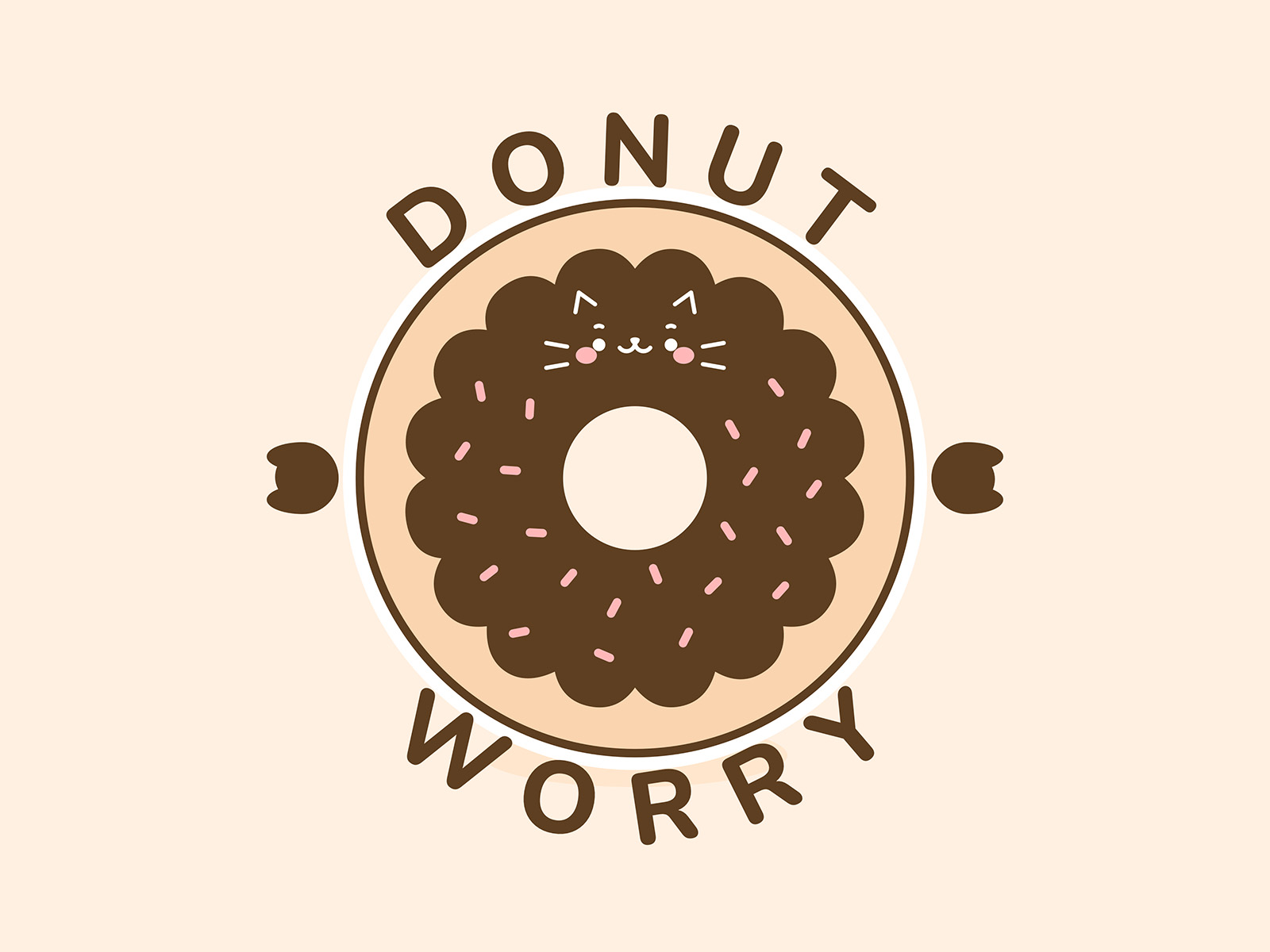 Donut Worry cute art cat pun